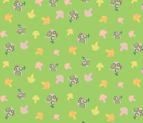 pink and yellow mushrooms on green fabric by uzumakijo on Spoonflower - custom fabric