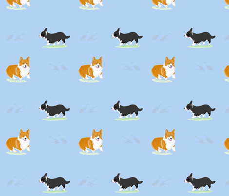 Herding Corgis - Blue fabric by rusticcorgi on Spoonflower - custom fabric