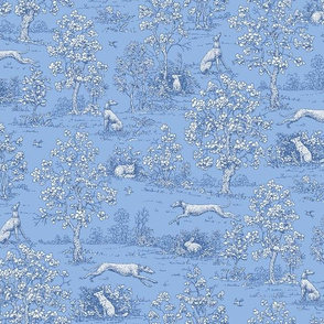 Soft Blue Reverse Greyhound Toile de Jouy 2010 by Jane Walker