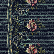 Navy 18th Century Border Print
