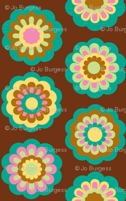 retro flowers on brown  - large rows