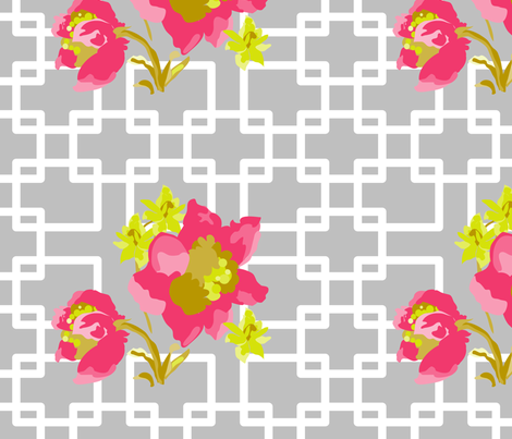 Japanese Peony on gray  fabric by montana_wild_flower on Spoonflower - custom fabric