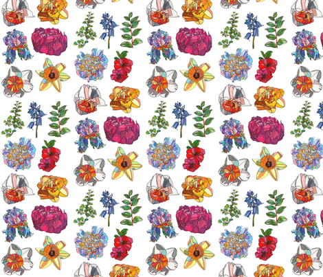 mini assorted flowers on white
