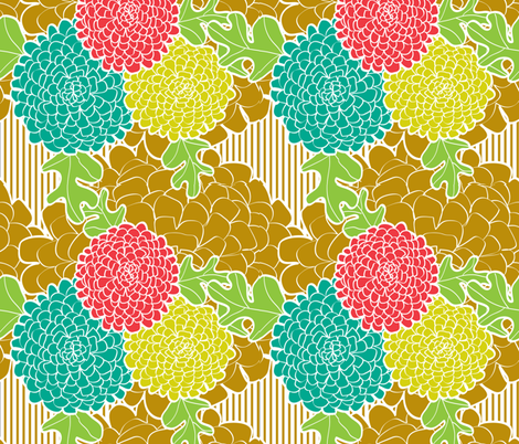 Chrysanthemums fabric by ninky on Spoonflower - custom fabric