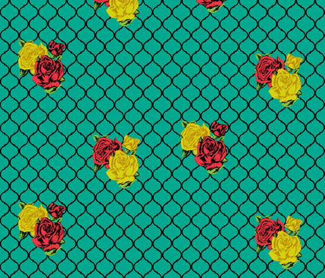 rose lattice fabric by trollop on Spoonflower - custom fabric