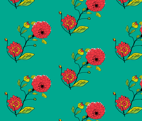 Dahlias in My Garden_ fabric by khowardquilts on Spoonflower - custom fabric