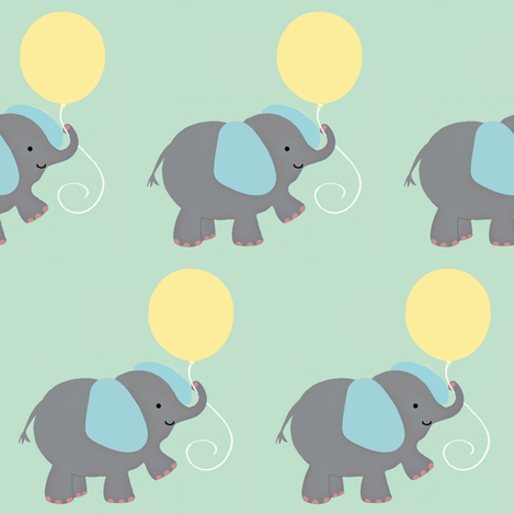 Elephant and balloon fabric by paragonstudios on Spoonflower - custom fabric