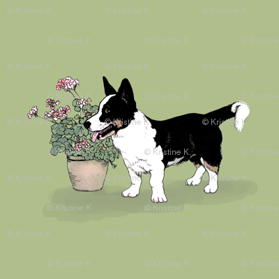 Tri Cardigan Welsh Corgi (green)