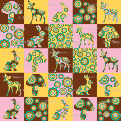 retro woodland cheater quilt