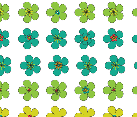 multicolor daisy large fabric by rockpaperfabric_design on Spoonflower - custom fabric