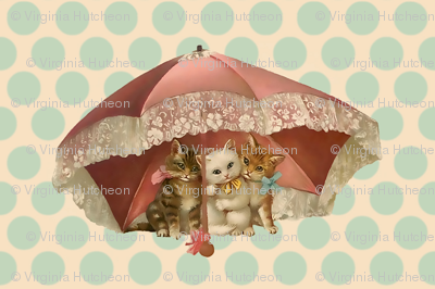 Vintage Kitties Under Umbrella