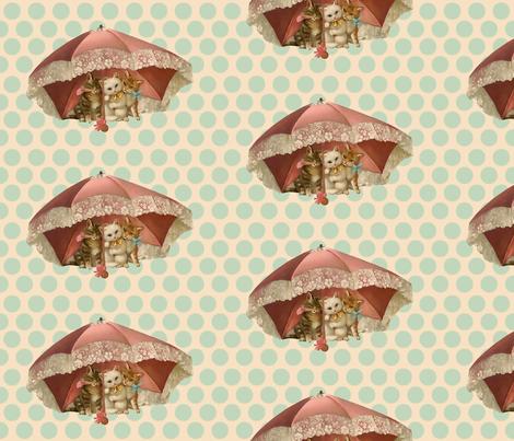 Vintage Kitties Under Umbrella fabric by avidia on Spoonflower - custom fabric