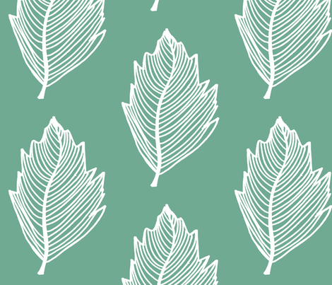 teal leaf fabric by designkat on Spoonflower - custom fabric