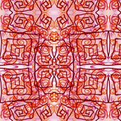 Geometric Crazy in Red, Orange and Pink