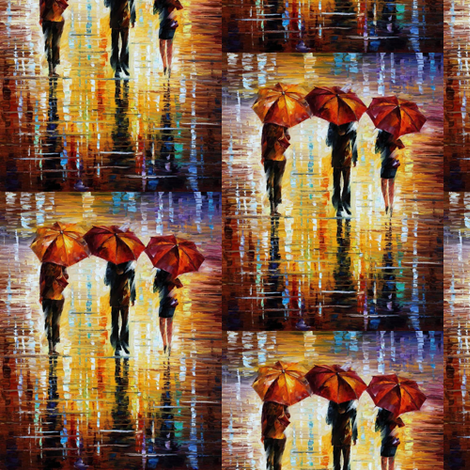 Three Red Umbrellas fabric by afremov_designs on Spoonflower - custom fabric