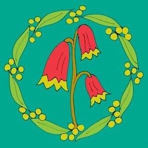 Festive Floral Wreaths on Jade - Medium
