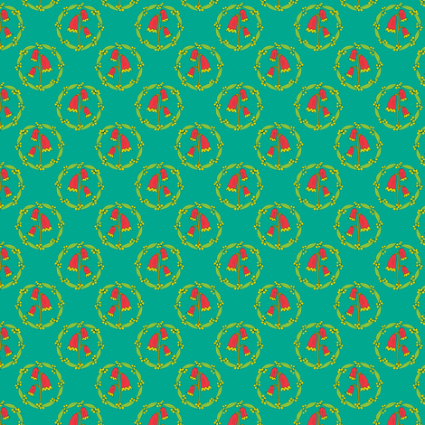 Miniature Floral Rosette Medallions on Jade fabric by rhondadesigns on Spoonflower - custom fabric