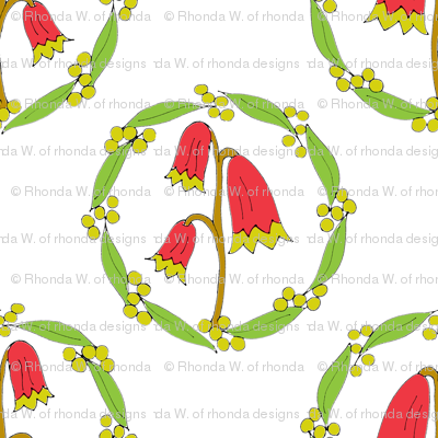 Miniature Floral Rosette Medallions on White