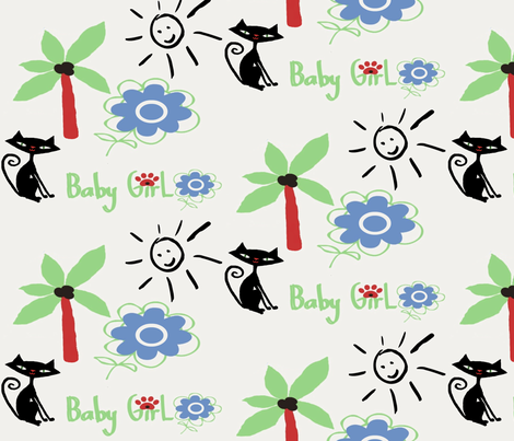 Retro Kitty / Sunshine fabric by paragonstudios on Spoonflower - custom fabric