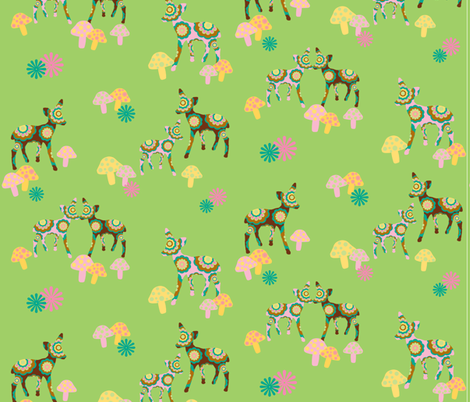 retro woodland deer and mushrooms on green fabric by uzumakijo on Spoonflower - custom fabric