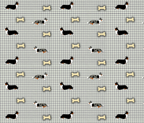 Cardigan's on homespun fabric by rusticcorgi on Spoonflower - custom fabric