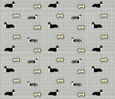 Cardigan's on homespun fabric by rusticcorgi on Spoonflower - custom fabric