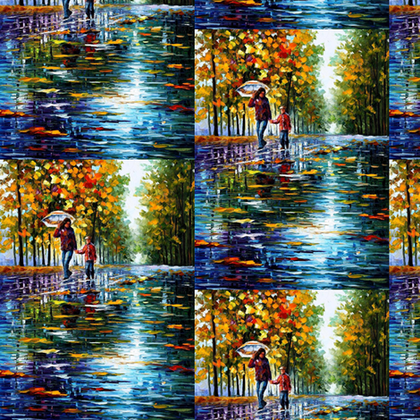 A Stroll in An Autumn Park fabric by afremov_designs on Spoonflower - custom fabric