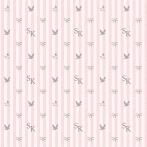 SK monogram pink stripe