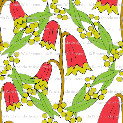 Christmas Bells and Golden Wattle on White