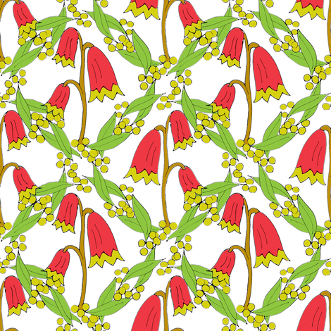 Christmas Bells and Golden Wattle - on White. fabric by rhondadesigns on Spoonflower - custom fabric