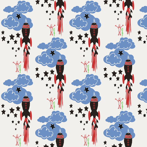 Retro Rocket / martians fabric by paragonstudios on Spoonflower - custom fabric