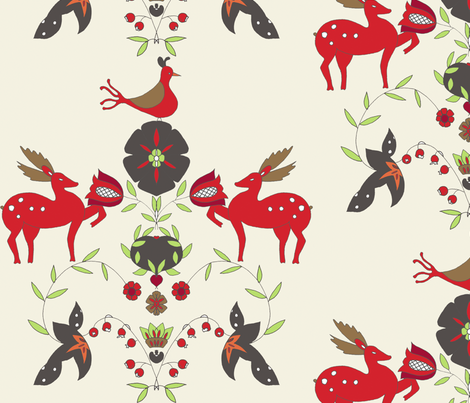 deer and flowers fabric by holli_zollinger on Spoonflower - custom fabric