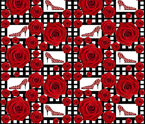 Ooh la la! Red rose fabric by paragonstudios on Spoonflower - custom fabric