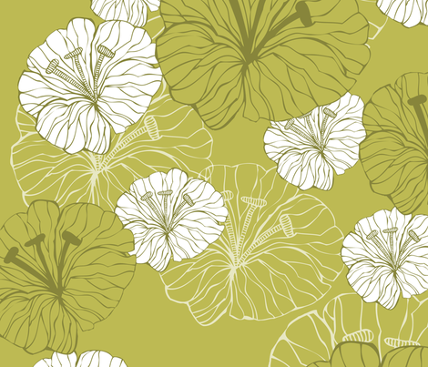 green_flowers fabric by valentinaharper on Spoonflower - custom fabric