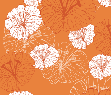 orange_flowers fabric by valentinaharper on Spoonflower - custom fabric