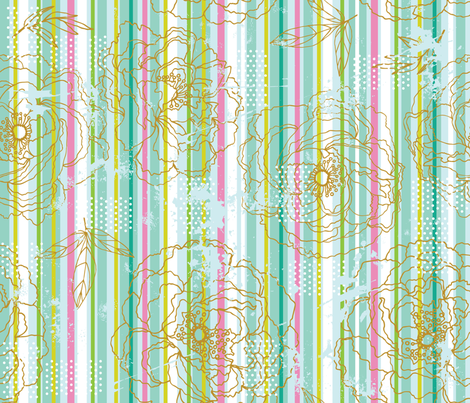 Floral Stripe fabric by cynthiafrenette on Spoonflower - custom fabric