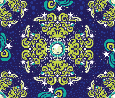 A Moon Shower of Stars fabric by cynthiafrenette on Spoonflower - custom fabric