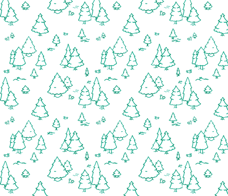 A Lot of Trees - Blues (outlines) fabric by jesseesuem on Spoonflower - custom fabric