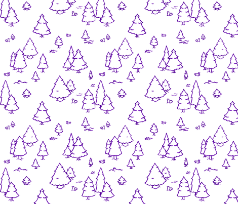 A Lot of Trees - Purples (outlines) fabric by jesseesuem on Spoonflower - custom fabric