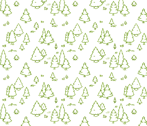 A Lot of Trees - Greens (outlines) fabric by jesseesuem on Spoonflower - custom fabric