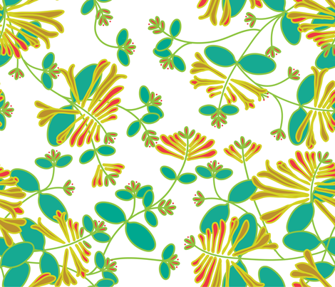 Trumpet Honeysuckle Vines fabric by wickedmint on Spoonflower - custom fabric