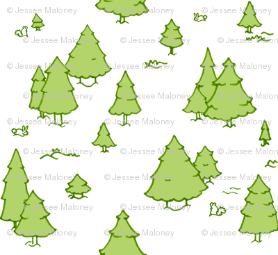 A Lot of Trees - Greens (white background)