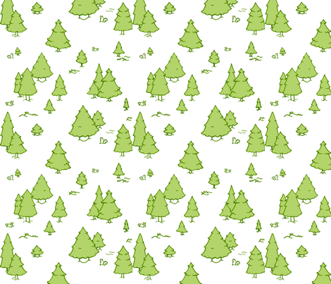 A Lot of Trees - Greens (white background) fabric by jesseesuem on Spoonflower - custom fabric
