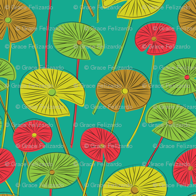 lotus leaves (teal)
