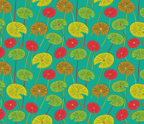 lotus leaves (teal) fabric by gracedesign on Spoonflower - custom fabric