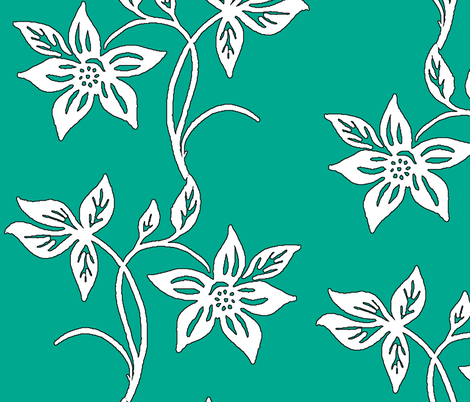 Batik flower-large-repeat-300-white-green-outline fabric by mina on Spoonflower - custom fabric