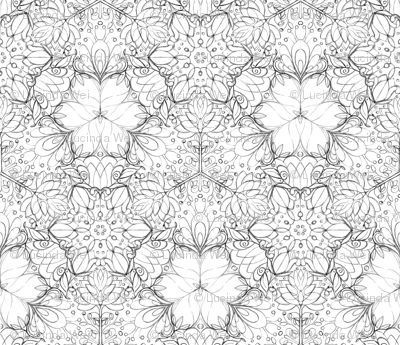 Botanical Kaleidoscope Sketch - © Lucinda Wei