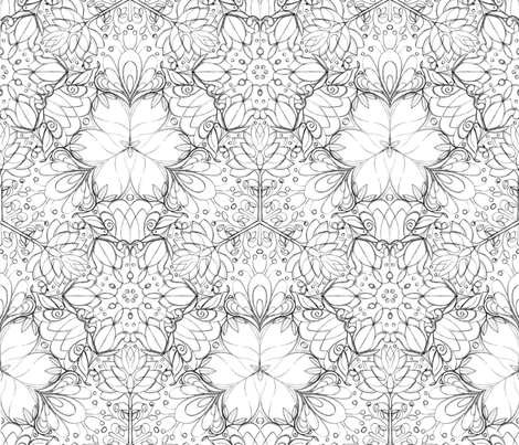 Botanical Kaleidoscope Sketch - © Lucinda Wei fabric by lucindawei on Spoonflower - custom fabric