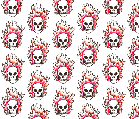 Flaming Skull  fabric by coriander_shea on Spoonflower - custom fabric