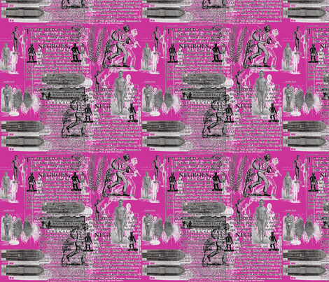 Slavery Toile II-Fushia fabric by kkitwana on Spoonflower - custom fabric